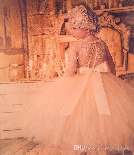 Bebek Bebek Yürüyor Pageant Elbise çiçek kız elbise, uzun kollu dantel tutu elbise, fildişi ve şampanya çiçek kız elbise gelinlik