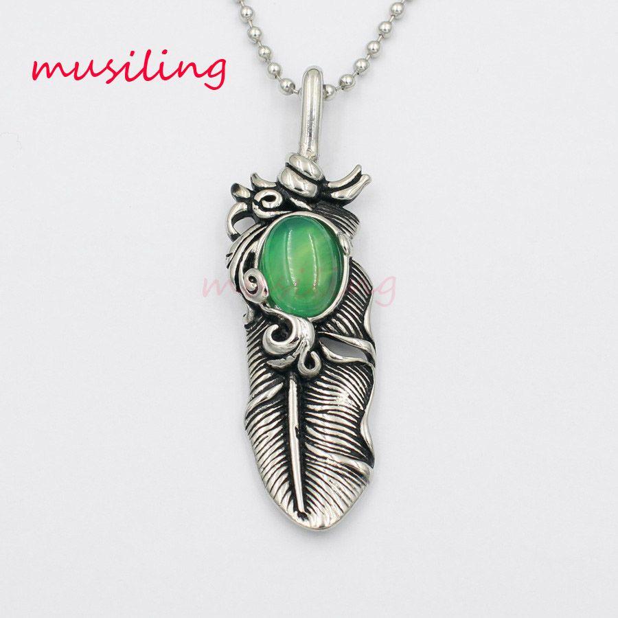 Acciaio inossidabile Takahashi goros piume Pendenti di collana Pendulum Gioielli Charms Reiki Healing Chakra Amuleto Moda Mens Gioielli