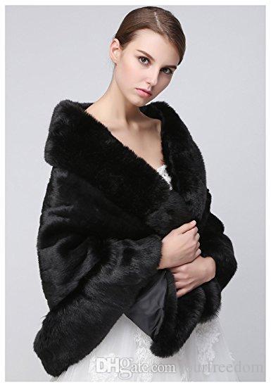 Clearbridal Women's Faux Fur Wrap Cape Stole Shawl Bolero Jacket Coat Shrug For Wedding Dress Winter 17014