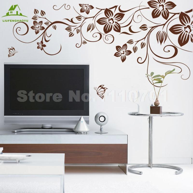 wholesale brown flower vine diy vinyl wall stickers home decor art
