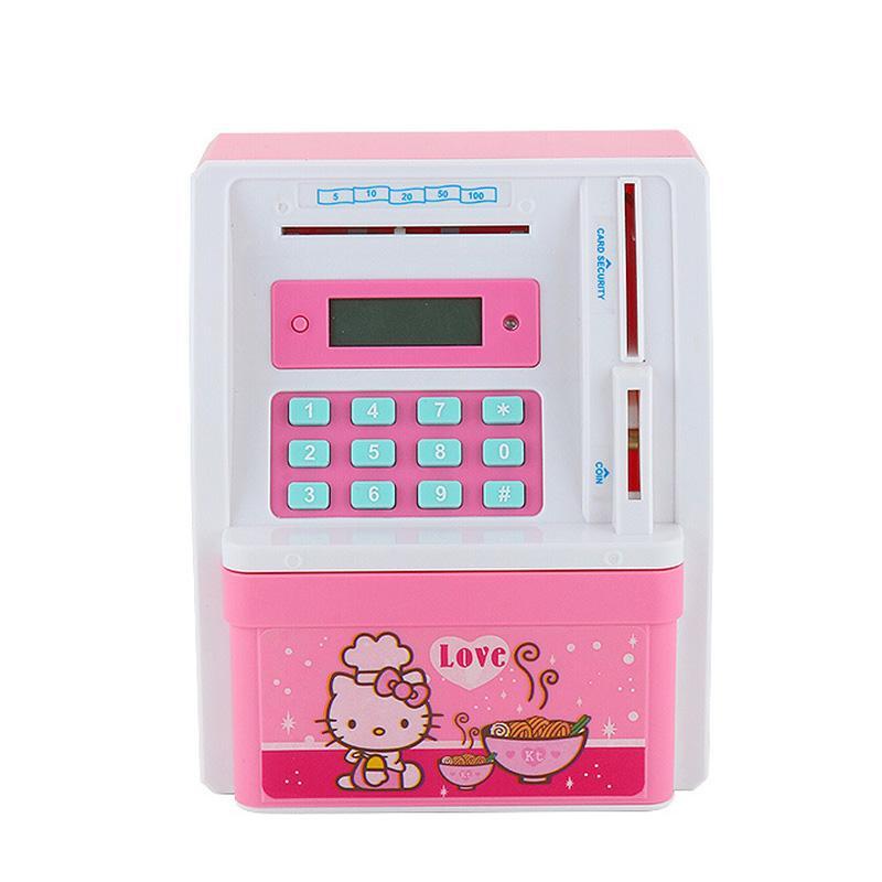 Electronic ATM Money Bank Piggy Money Locker Coins Cashes Auto Insert Bills  Safe Box Password ATM Bank Saver Creative Gift For Kids