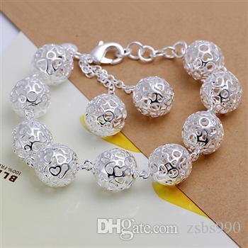 Boule creuse en argent 925 collier boucles d'oreilles Bracelet ensemble de bijoux femmes style de fête de charme Top qualité Livraison gratuite