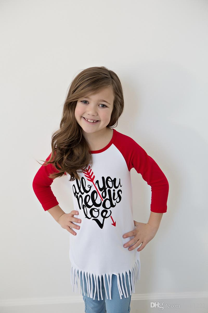 9056f1ffb 2019 New Girls Long Sleeve T Shirts Tassels Letter Design Raglan Sleeve  Contrast Colour Long Tees Children Kids 100% Cotton Tops Shirts For 2 6T  From ...