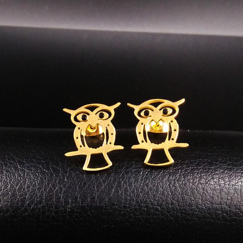 Owl Stainless Steel Jewelry Set 2016 New Owl Statement Earrings Necklace Plated Gold Jewerly Sets For Women parure S67143