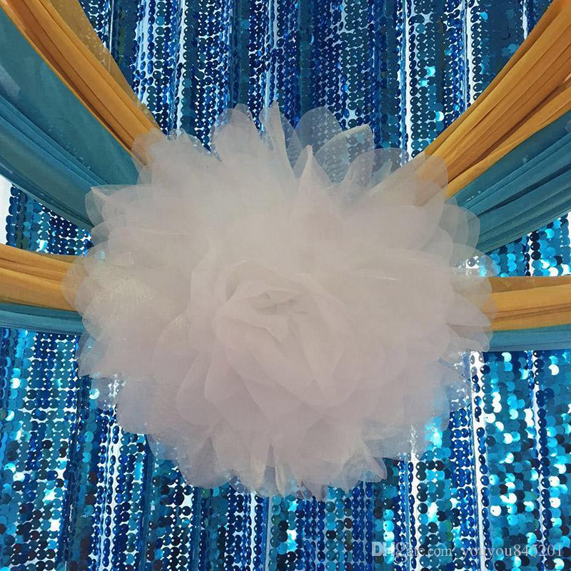 2017 Vente Chaude De Charme Fantastique Organza Grande Fleur Lycra Chaise Sash Band Avec Livraison Gratuite Pour Le Mariage, Fête, Hôtel Décoration