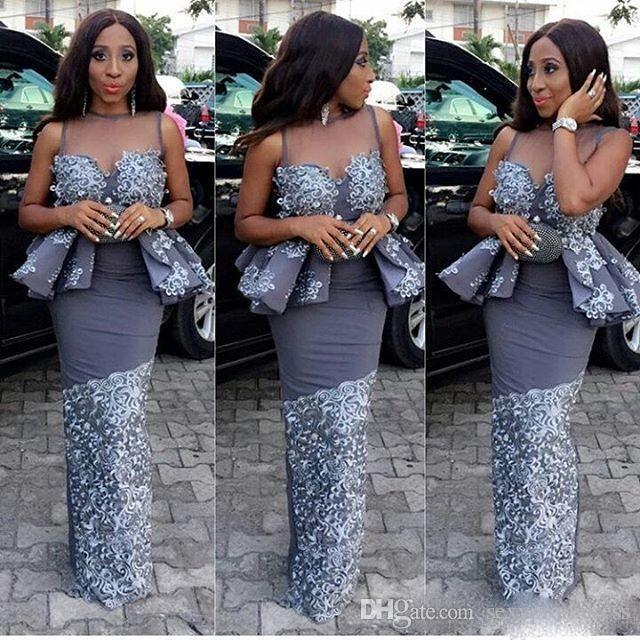 Grey Color Sheath Vestidos de noche Mujeres africanas Sheer Neck Encaje Appliques Prom Vestido Peplum sin mangas formal vestido de fiesta Por encargo