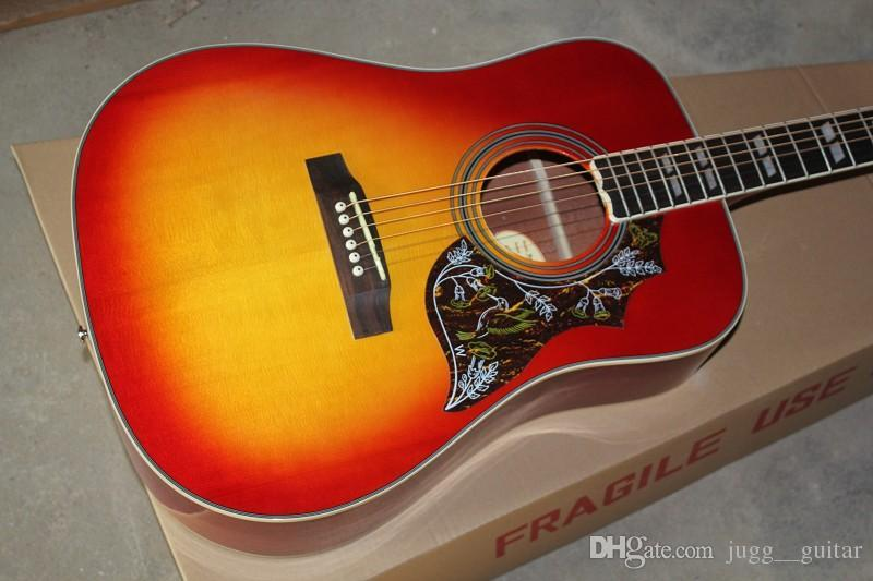 Spruce Top 41 Inches Humming Cherry Sunburst Vintage Acoustic Electric Guitar, Split Parallelogram Inlay, Red Pickguard, Fishman Pickups