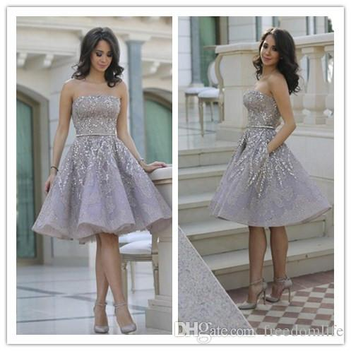 Elegant Gray Short Prom Dresses Appliques Lace Strapless Beaded Formal Cocktail Party Dress with Pocket Homecoming Gowns