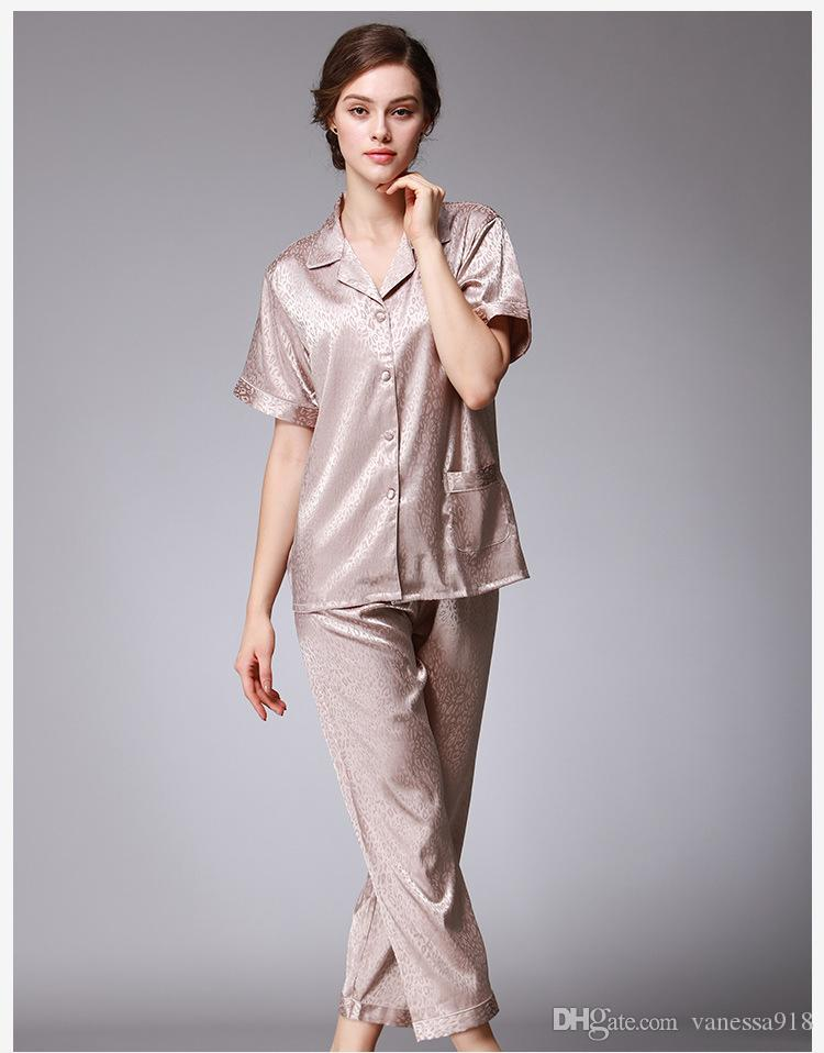 6c0865d9a3 Satin Pajama Sets Pyjamas Women Sexy Lingerie Silk Pajamas for Women ...