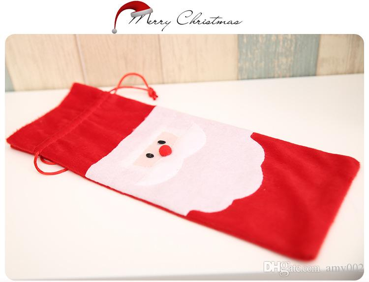 retail Hot sale Christmas gift bag Merry Xmas Santa Claus Wine Bottle Cover Christmas Dinner Party Table Decor Red