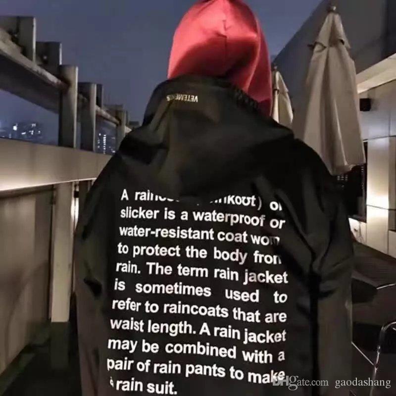 2018 Mais Novo TOP hip hop kanye west moda Vetements One Size blusão jaqueta à prova d 'água capa de chuva homens mulheres negras