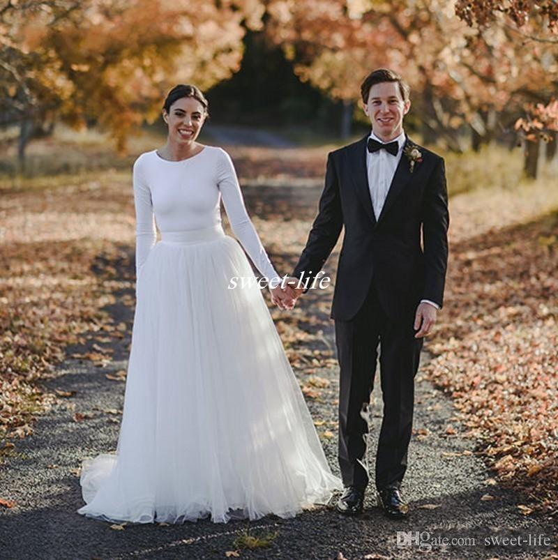 Discount Elegant Vintage Long Sleeves Country Wedding