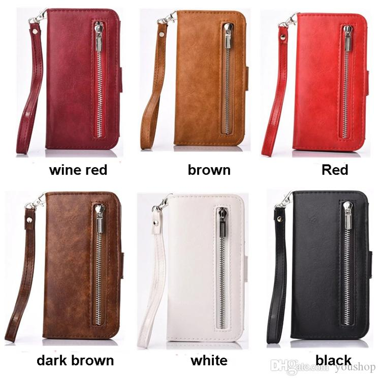 For iphone 7 Leather Case Premium PU Leather Folio Flip Wallet Case with Credit Card Holder Slots and Wrist Lanyard Zipper Bag