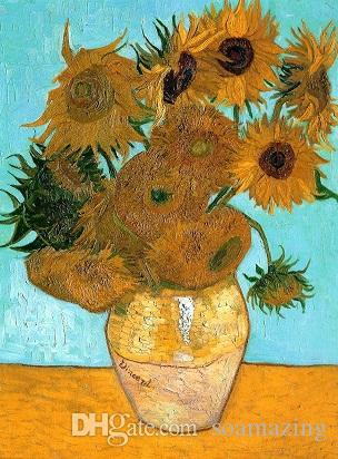 Framed YELLOW Sunflowers By Vincent Van Gogh,Pure Handpainted Art Oil Painting On Quality Canvas Wall Decor Multi Sizes Vg022
