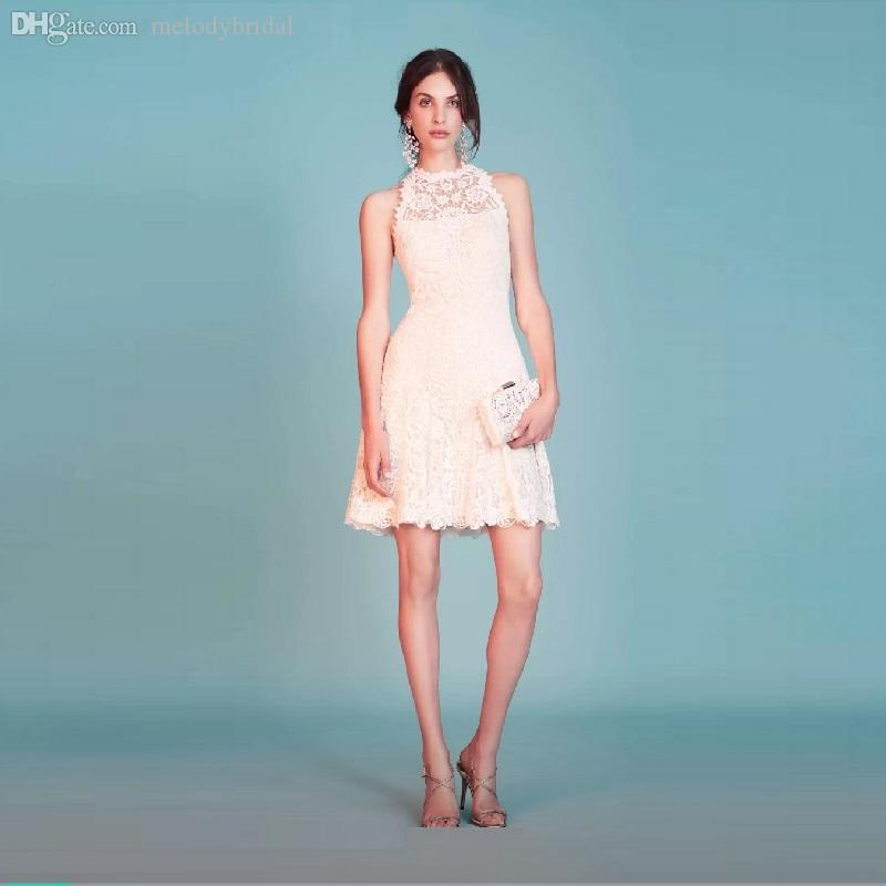 c635c4a2bf00e High Neckline Lace Knee Length Sleeveless Prom Evening Dresses Back Zipper A  Line Short Pink Party Gown Cocktail Dress Sexy Formal Dresses Shop Dresses  From ...