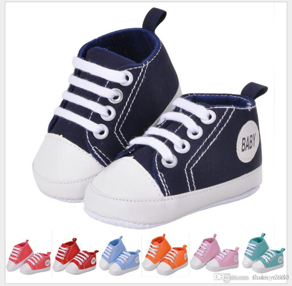 e1bdfd1329e8 Canvas Baby Shoes 0-18 Months Infant First Walkers Soft Rubber Sole ...
