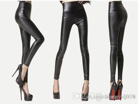5235f67f5b904c Free shipping sexy women's skinny high waisted leather leggings Matt nine  pants factory direct thin Leggings slim jeans and big size