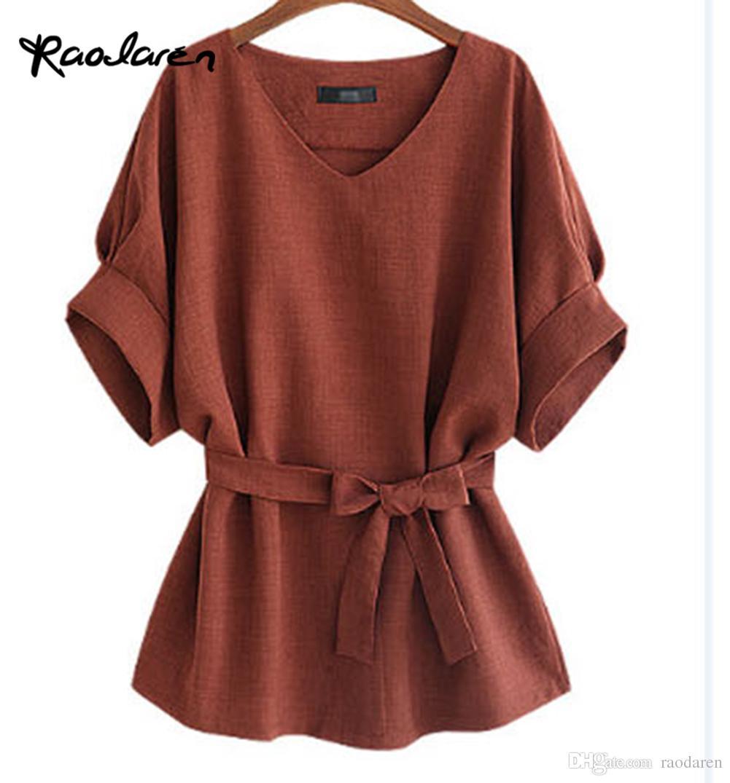 Raodaren 2017 Sommer 5XL Plus Größe Frauen Shirts Leinen Tunika Shirt V-ausschnitt Großen Bogen Batwing Tie Lose Damen Bluse Weibliche Top Für Tops