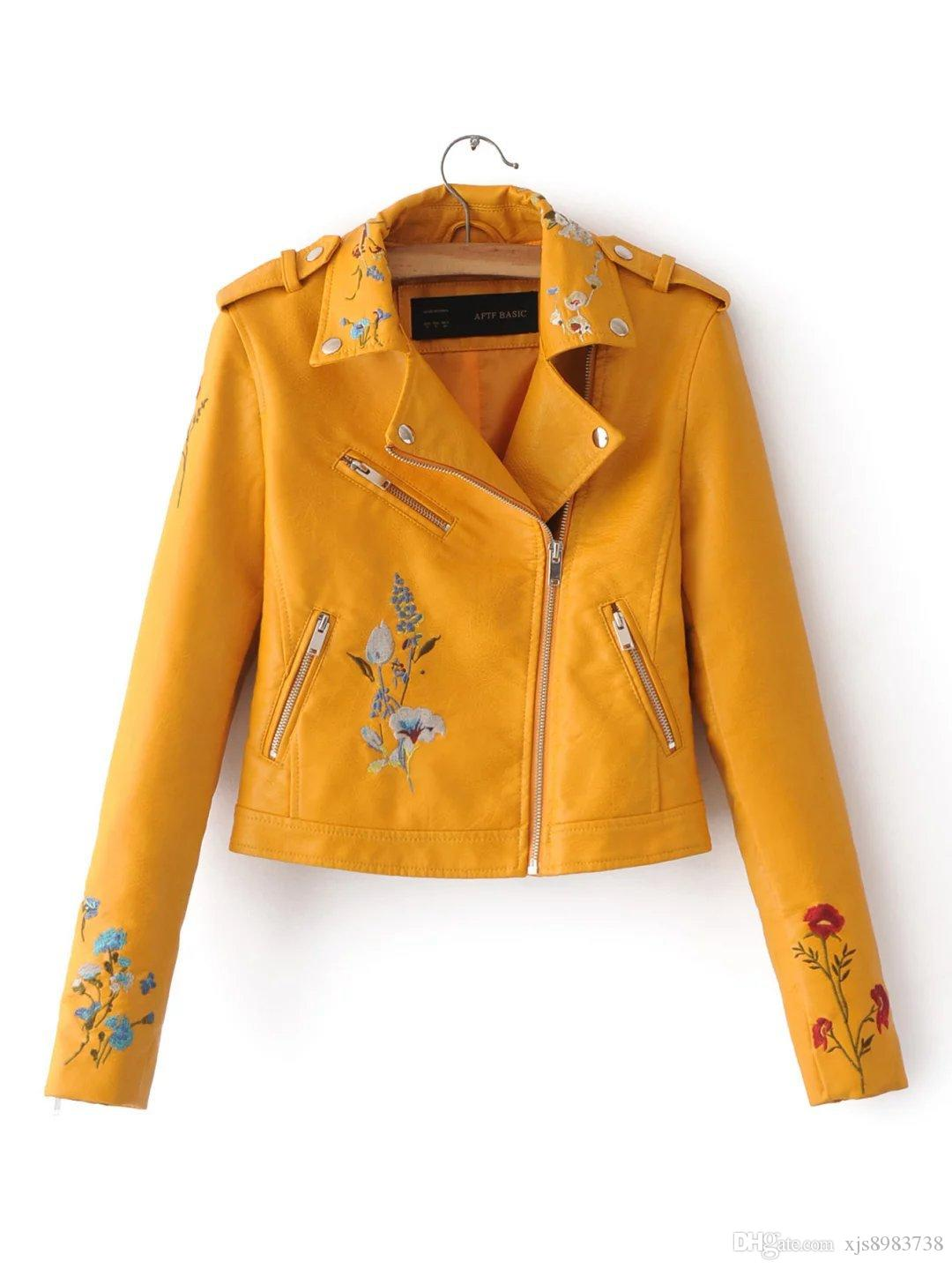 Spring Bomber Jacket Women 2017 New Floral Embroidered Pu Leather