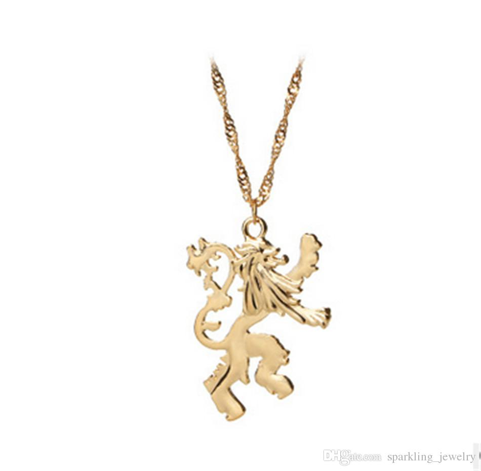 Wholesale lannister double lion pendant necklaces gold plated game wholesale lannister double lion pendant necklaces gold plated game of thrones necklaces alloy material cheap movies jewelry wholessale silver charms rose aloadofball Choice Image
