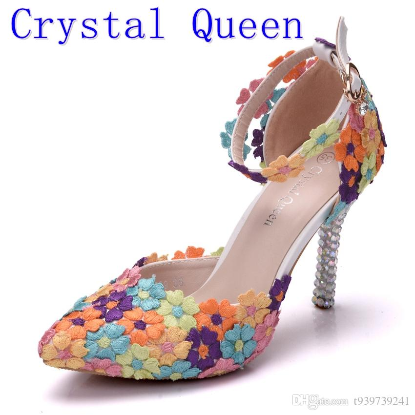 save up to 80% competitive price online shop Crystal Queen Fashion Colorful Lace Flower Wedding Shoes Multicolor High  Heel Sandals Banquet Pumps Handmade Prom Party Shoes