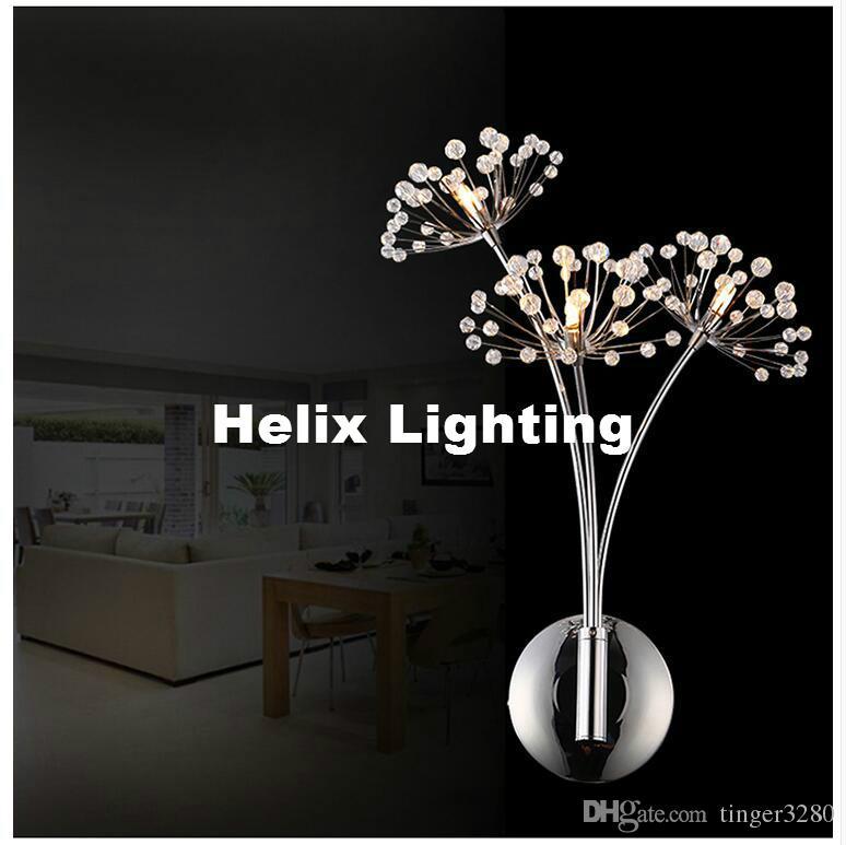 Ücretsiz Kargo Modern G4 Sanat Dekor Paslanmaz Çelik Kaplama LED Kristal Duvar Işık Lambası Yatak Odası Ev Aplik Parantez Aydınlatma