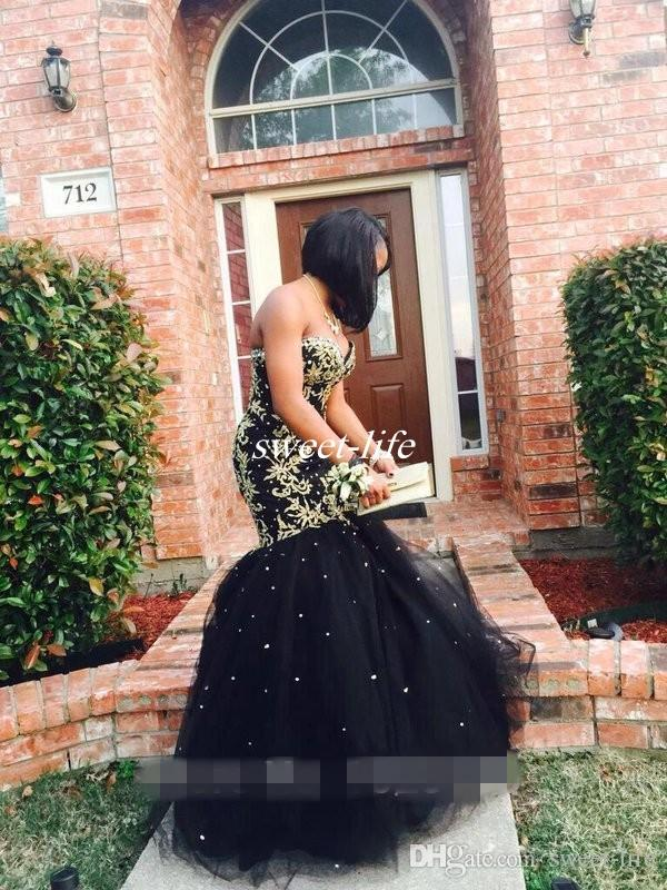 Custom Made Black Mermaid Prom Dresses with Gold Applique Lace Tulle Sweetheart Corset Back 2019 Plus Size Evening Pageant Gowns 2K17