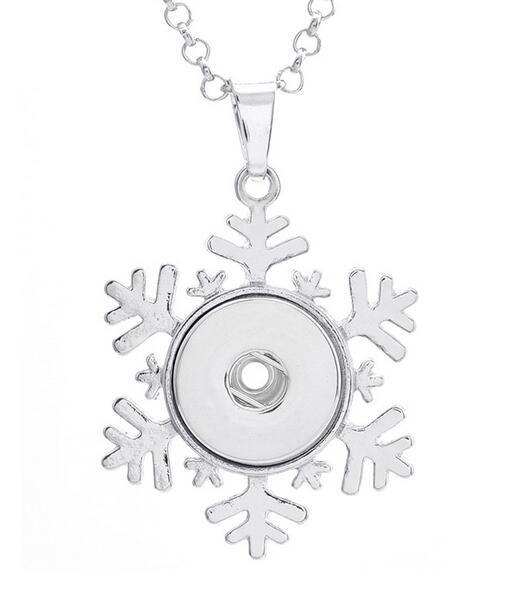 Vintage Noosa Congelado Floco De Neve Pingente de Colar pedaços snap botão jóias DIY Colar Botão Snap Pulseira Intercambiáveis Jóias