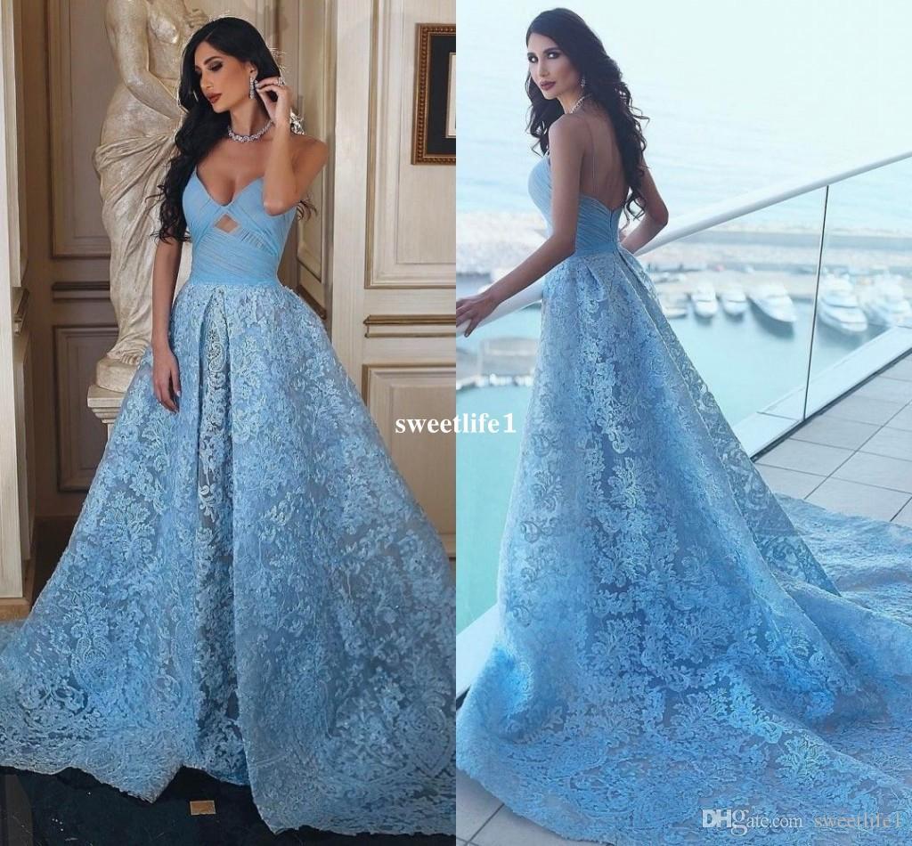 Dubai Style Light Sky Blue Lace Evening Dresses 2017 Sweeheart Sweep ...