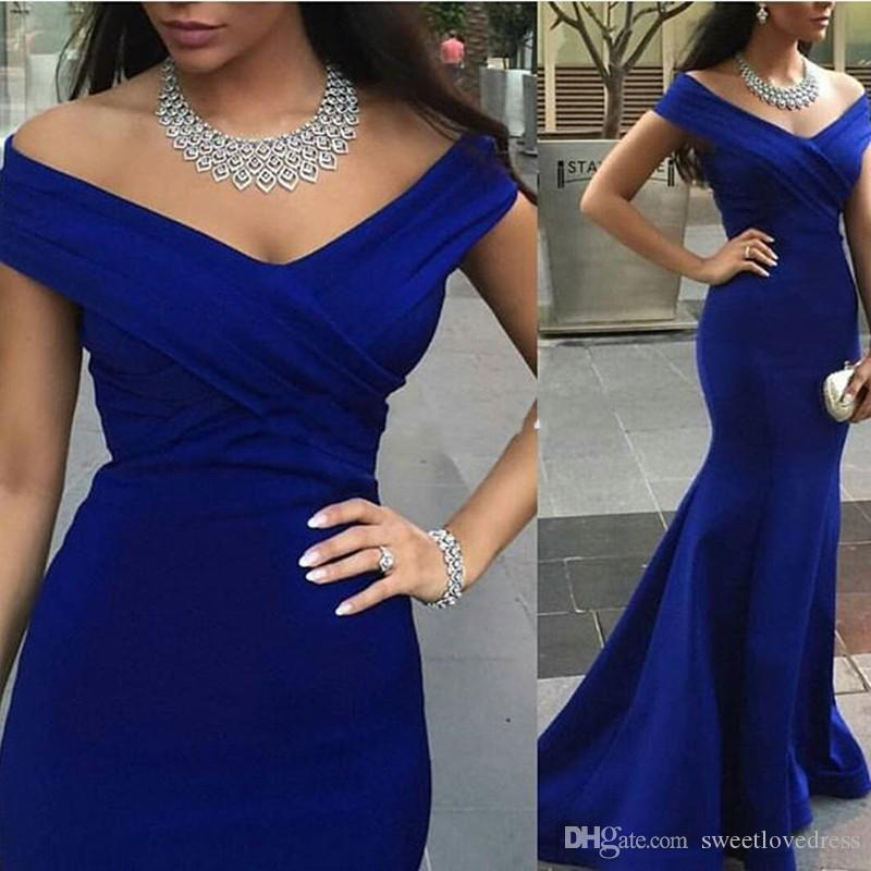 Elegant Royal Blue Mermaid with Ruched Evening Gowns Cap Sleevel V Neck Chifffon Formal Evening Prom Party Dress