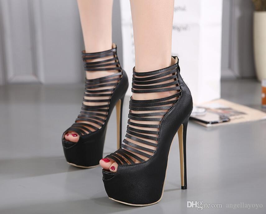 75b83765648 Women Platform Pumps Open Toe Narrow Band High Heels Summer Sandals  Clubwear Party Fetish Shoes Stripper Ultray High Heels Wholesale Shoes  Black Shoes From ...
