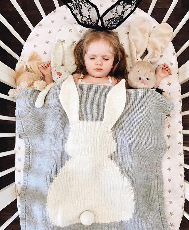 Baby Cartoon Rabbit Blankets Ins Cute Bunny Crochet Knitted Bed Sofa Towel Mantas Bed Spread Bath Towels Napping Blanket Swaddling