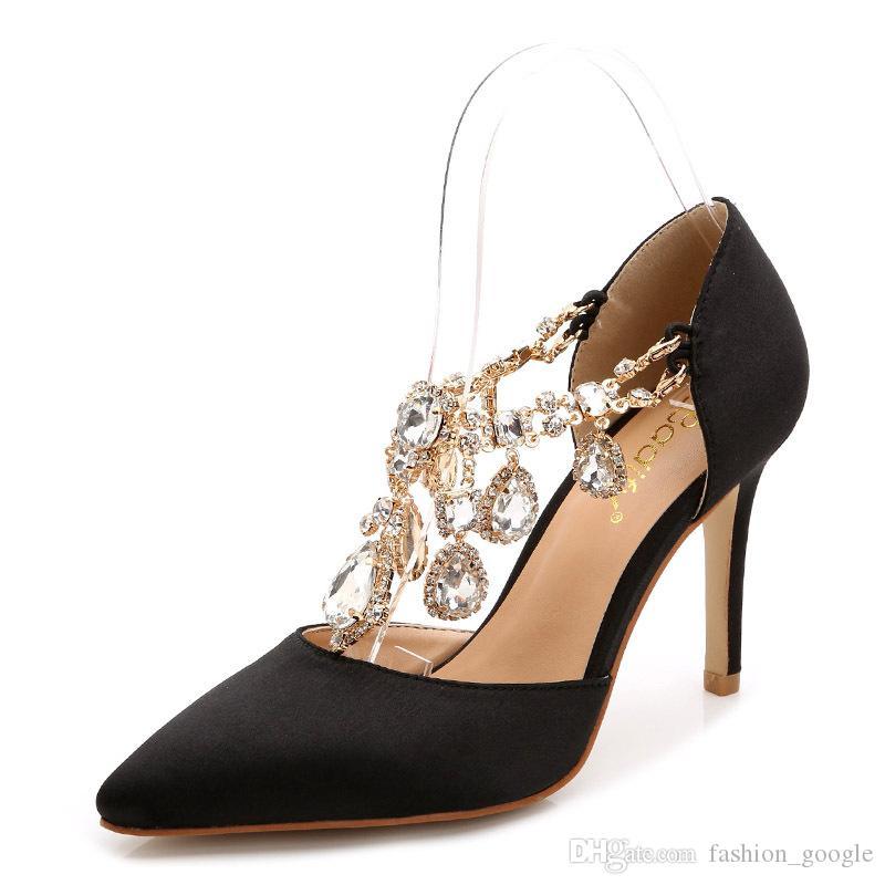 2017 Silk Homecoming Prom Party Scarpe la signora nero argento rosa rosso fucsia tacco alto strass nozze scarpe da sposa taglia piccola plus size