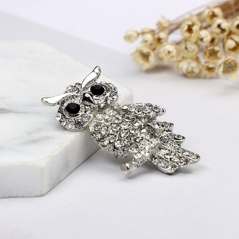 Moda argento placcato gufo stile brillante cristallo intarsio gioielli signora strass spille gioielli da sposa lotto 10 pezzi