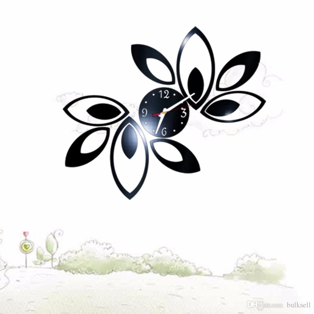 Flower Art Luxury DIY Clocks 3D Crystal Mirror Wall Clock Modern Design Watch Wall Sticker Living Room Decor Stock Offer