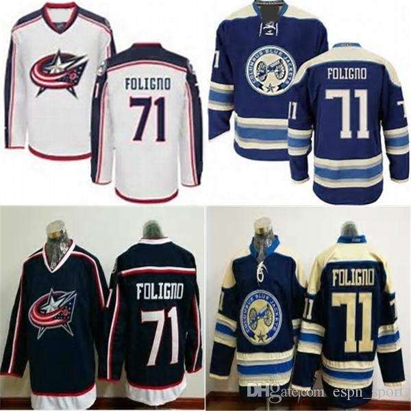 ... cheap 71 stitched navy nhl jersey 2017 factory outlet columbus blue  jackets 71 nick foligno white f75868e10