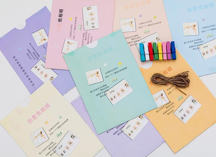 إطارات الصور ورقة الإبداعية 8 قطعة / المجموعة 6 بوصة لطيف القوس الجدار شنقا ورقة إطار الصورة ألبوم الصور كرافت ورقة حامل البطاقة مقاطع خشبية