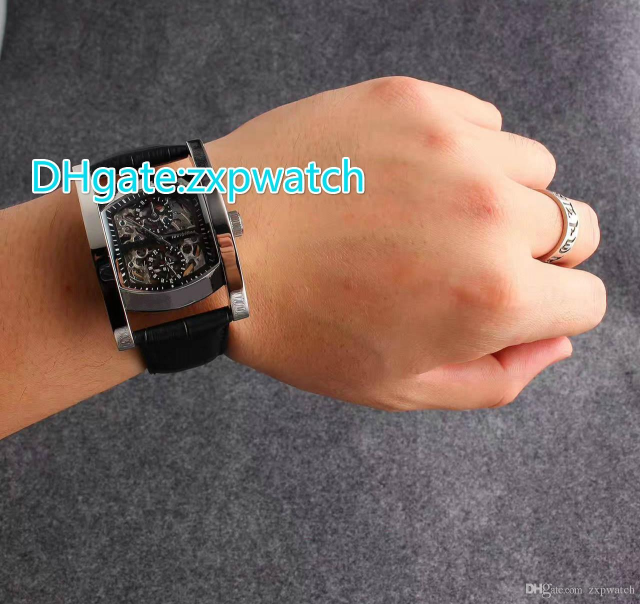 high quality brand automatic hollowing machine menu0027s watches stainless steel case leather strap sapphire glass surface 5 pin menu0027s watch online