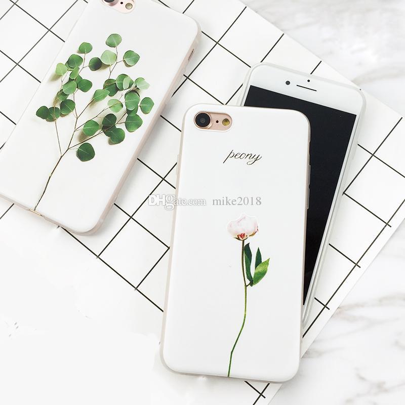 Satın Al Basit Bitki Boya Telefon Kılıfı Için Iphone 7 7 Artı 6 6 S