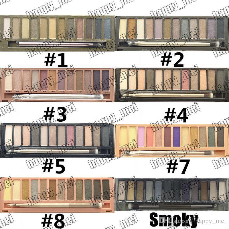 Frete Grátis ePacket! Nova Maquiagem Olhos Nua 1/2/3/4/5 / Smoky Paleta de 12 Cores Sombra de Olho Com Caixa e Pincéis!