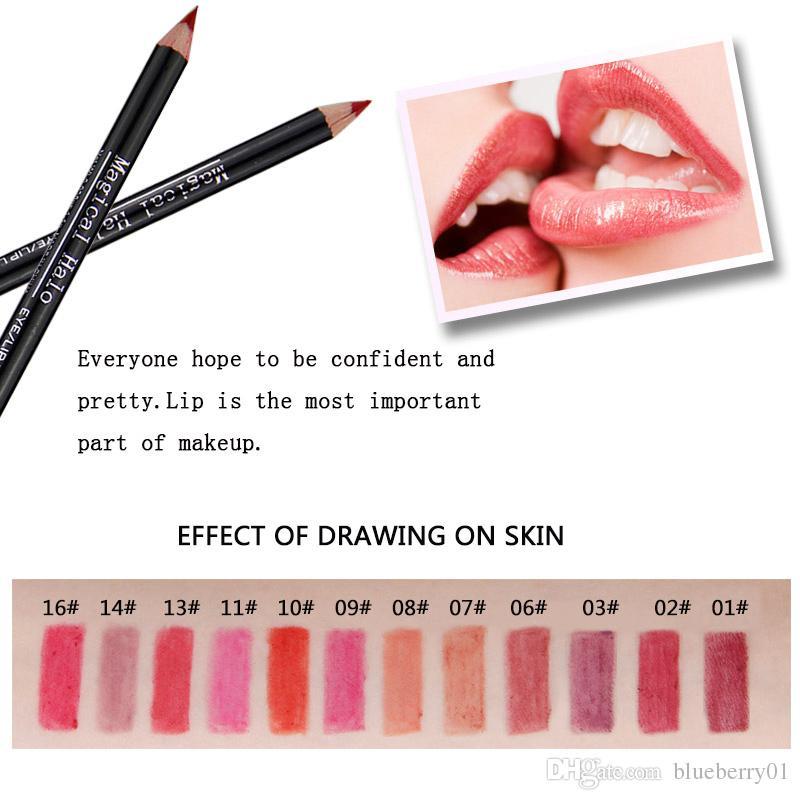 12 Farben / Los Wasserdichte Lip Liner Bleistift Set Lipliner Kontur Matte Lippenstift Stift langlebige Retro Red Lip Pencil
