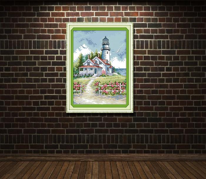 Faro casa sul mare, fai da te a mano punto croce set cucito kit di ricamo dipinti contati stampati su tela DMC 14CT / 11CT