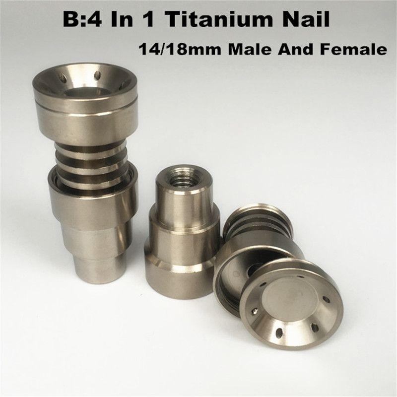 Universal Titanium nail 4 in 1 Domeless Titanium Nails 10 14 18mm Female And Male Titanium Dab Nail