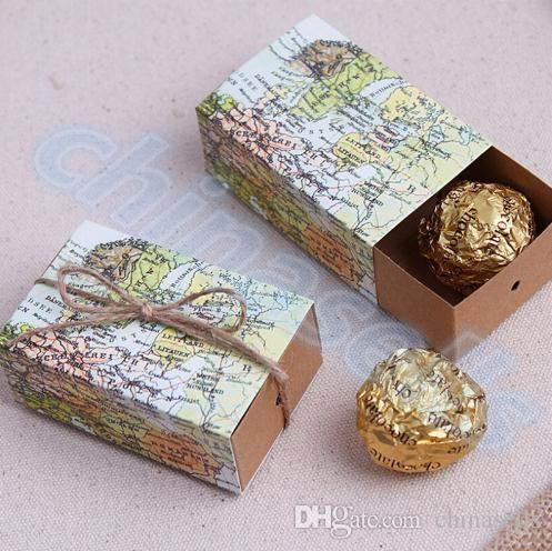 Casamento World Map Wedding Favors Boxes Wedding Candy Box Around