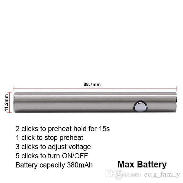 Thick oil Vape Pen Amigo Max Battery VV Batteries E Cigarettes Fit 510 Cartridges CE3 Glass Tank extract Oil Vaporizer
