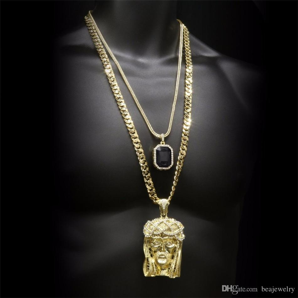 Hip hop Golden Crowned Jesus Head Pendant & Iced Out Square Gem Crystal Necklace Set Cuban chain