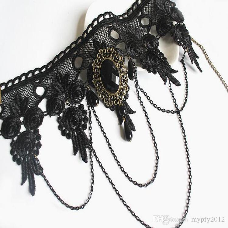 Новые женщины черный Gemstone Широкий Lace Готическая Чокеры ожерелья год сбора винограда цепи кисточкой Bib Воротник Ожерелье LX
