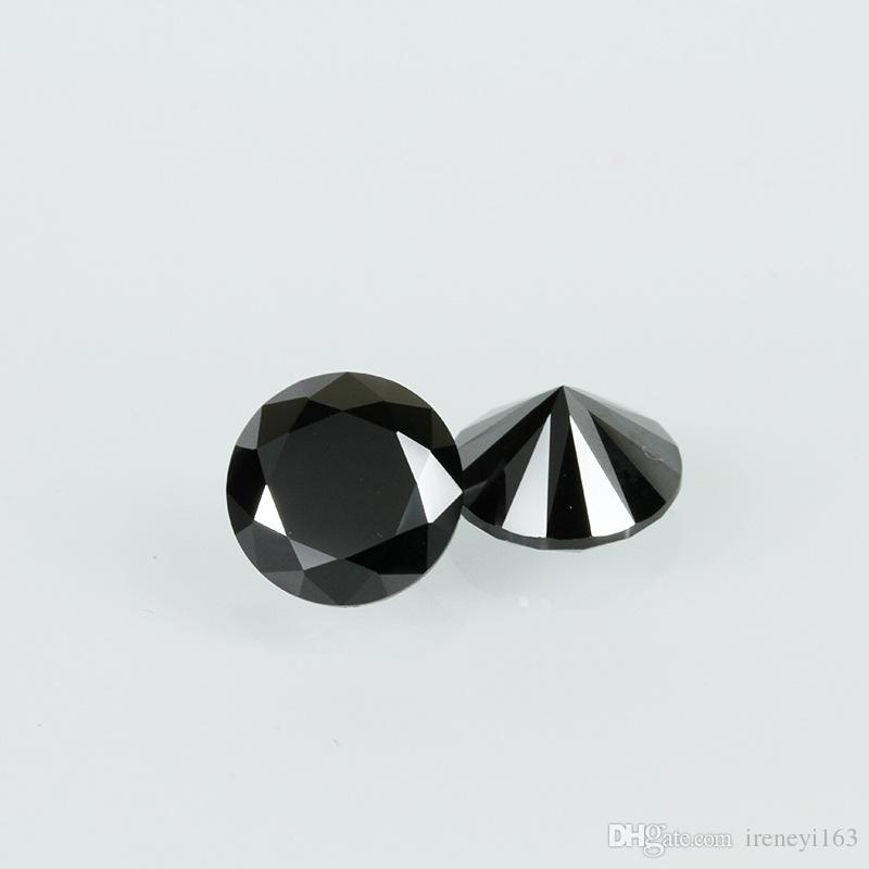 High Quality Machine Cut Black Color 3A Cubic Zirconia Big Size 7-20mm Round Synthetic Loos Stone For Jewelry Making