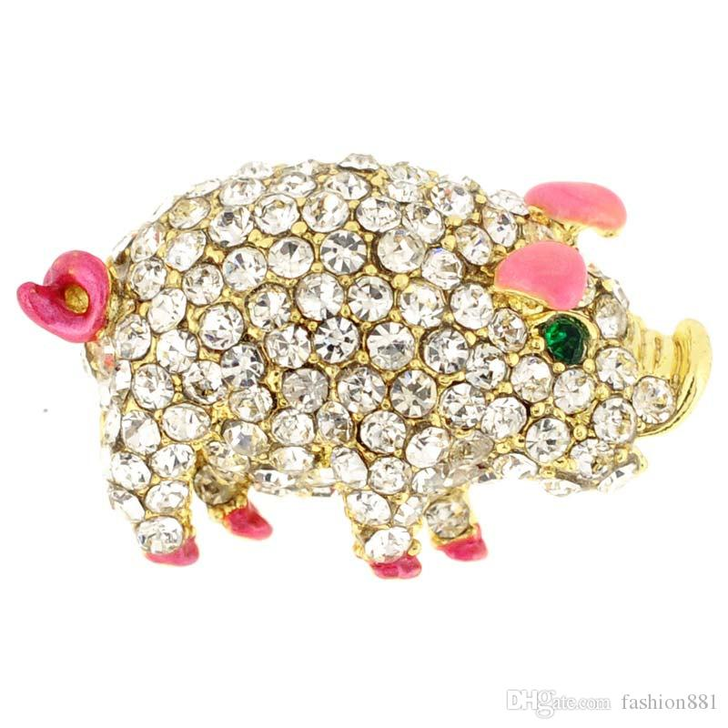 rhinestone Pig Tag Pin Animal Brooch Pin,Pig collar pins , Piggy Brooches Jewelry 1 x 0.875 inches