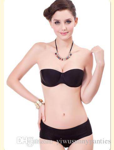 803672df45eb5 2019 Top Fashion Seamless Half Cup Wire Free Nylon Black 2017 New Fashion  Sexy Women Magic Push Up Bra Strapless Bras Underwired Back Band From ...